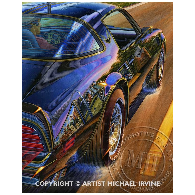 """""""Crossing State Lines"""" Burt Reynolds driving the 1977 Trans Am in Smokey and the Bandit"""