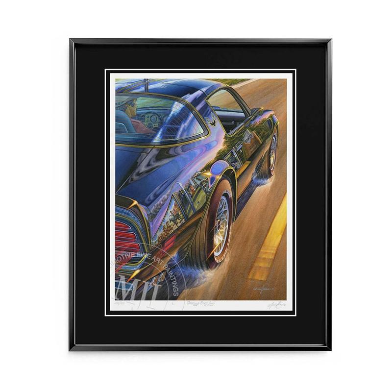 Framed Limited Edition Print—black metal frame, black conservation mat with v-groove & regular glass.