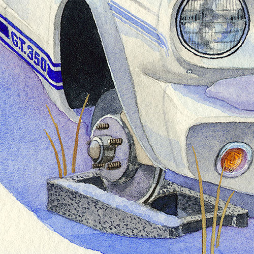 Detail: Racehorse missing a shoe.