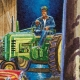 Detail: Farmer looking out over his collection on a John Deere!