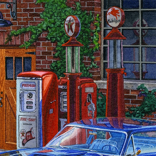 Details: Vintage gas pumps—a growing automobilia collection.