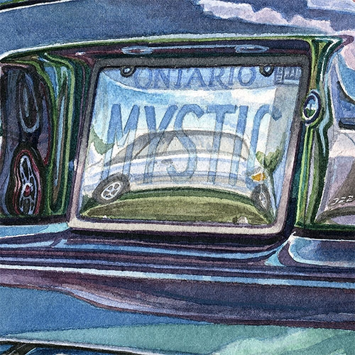 Detail: Reflections in the Mystic license plate.