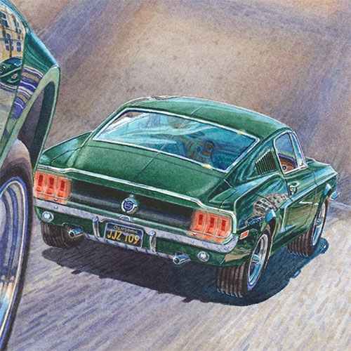 Details: Steve McQueen as Frank Bullitt behind the wheel. of the '68