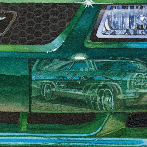 Details: Reflections in the 2001 Bullitt Mustang.