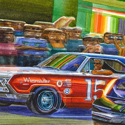 Details: Parnell Jones race car putting on a show.