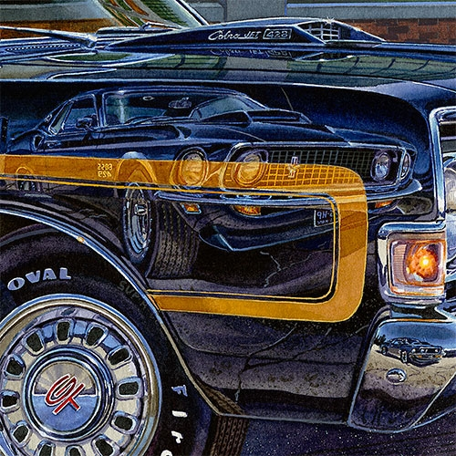 Details: Powerful reflection—Boss 429 Cobra Jet Mustang.