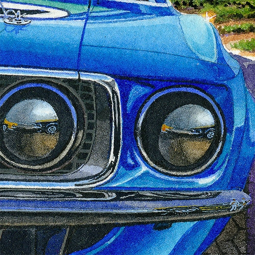 Details: Reflections in the front end of the Team Shelby Boss 302.