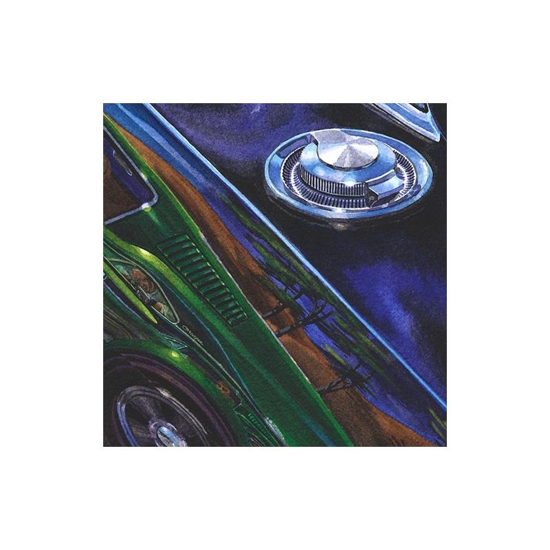 Details: Reflection-in-a-reflection-in-a-reflection—legendary Bullitt movie Charger and Mustang.