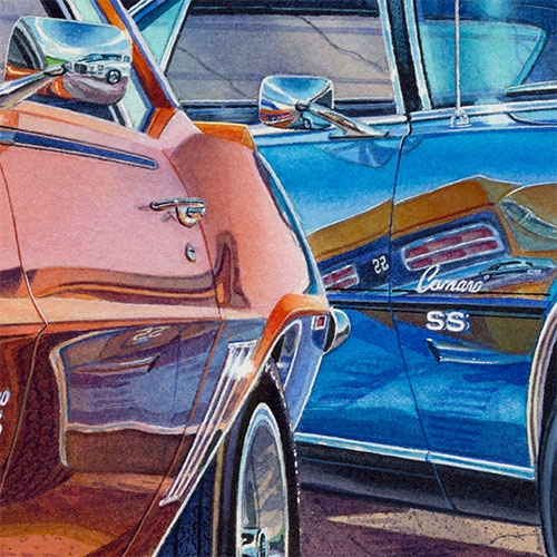 Details: Reflections in the chrome of the 1968 and 1969 Camaros.