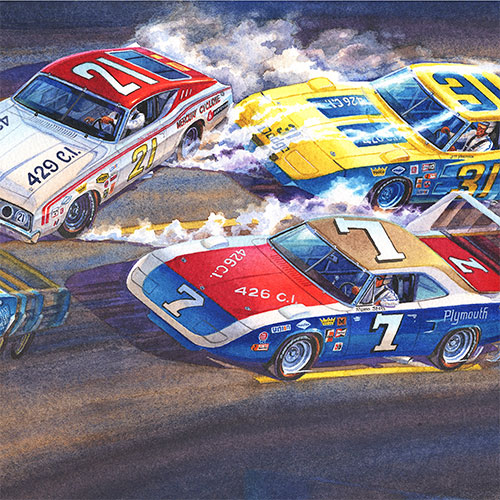 Details: Cale Yarborough, Jim Vandiver and Ramo Stott battle it out on the Talladega high bank.