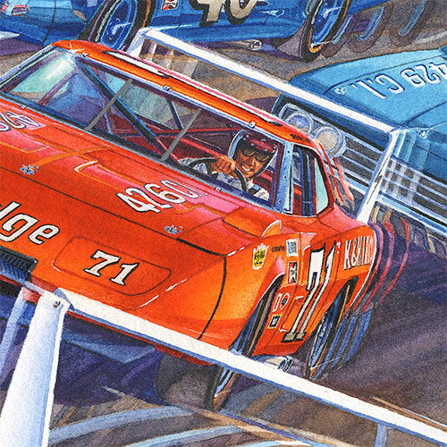 Details: Bobby Issac behind the wheel of the K&K Insurance Dodge Daytona.