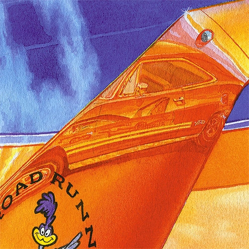 Details: Bird on a wing of this Hemi Orange Road Runner.