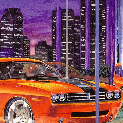 Details: Hot new Challenger with Detroit skyline behind the showroom.