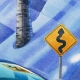 Detail: SSSSlipery curves ahead, but these Shelbys can handle the icy mountain road!