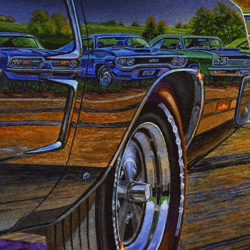 Detail: 1968 Barracuda, 1971 GTX, 1969 Road Runner