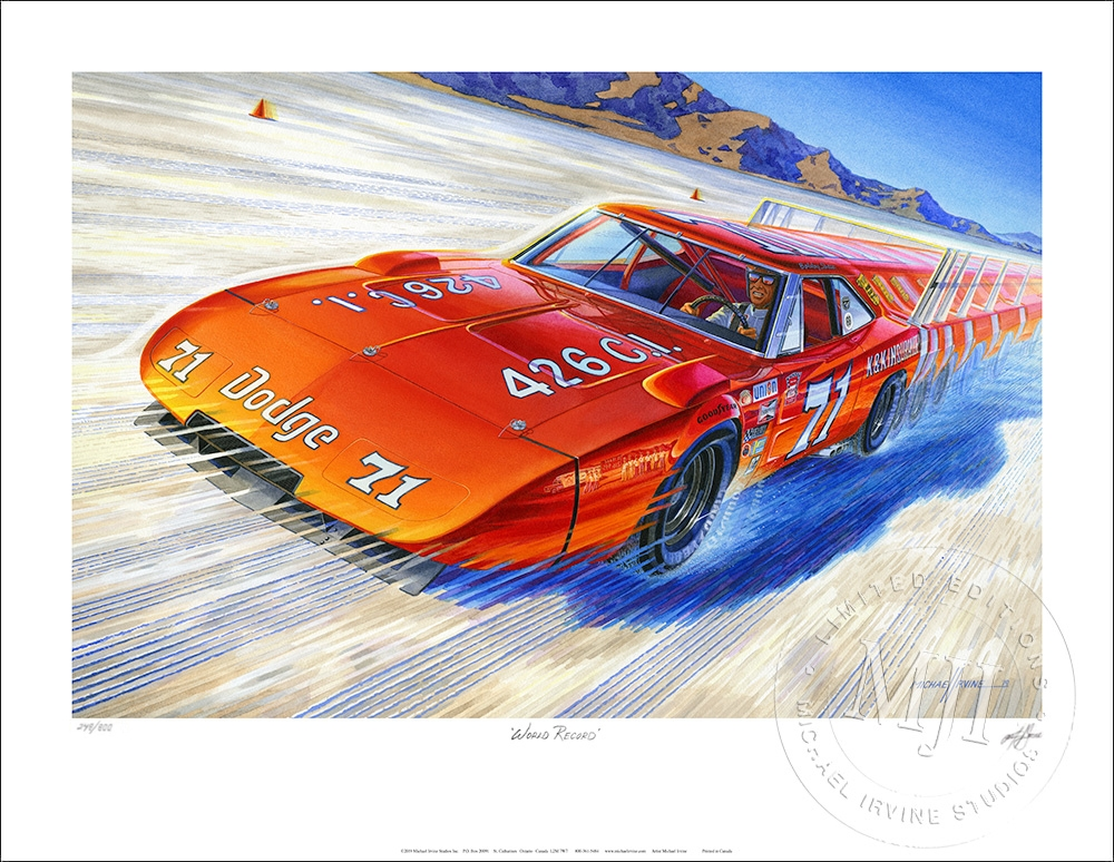 Limited Edition Print featuring Dodge Daytona Charger signed/numbered by Artist Michael Irvine