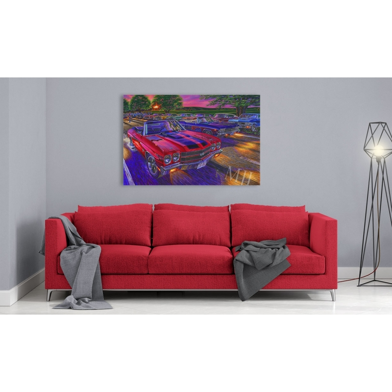 """Gallery Edition Canvas (ready to hang): durable waterproof coating, gallery wrapped onto 1½"""" deep hardwood stretcher bars."""