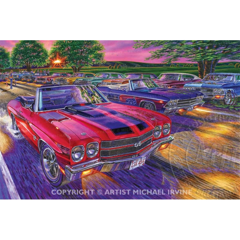 """""""Drop Top Show Down"""" painting featuring the powerful Chevelles."""