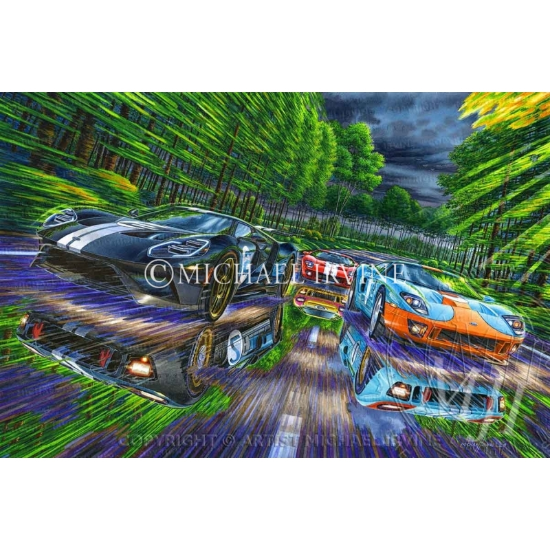 """""""First, Second and Third"""" painting featuring Ford GT and GT40 at Le Mans"""
