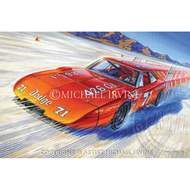 """World Record"" painting featuring 1969 Dodge Daytona by automotive artist Michael Irvine"