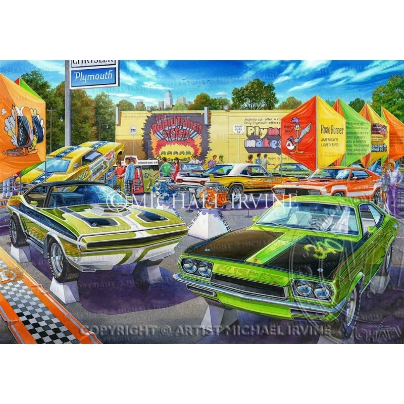 """""""The Caravan of Speed"""" painting featuring 'Plymouth's Rapid Transit System' by automotive artist Michael Irvine"""