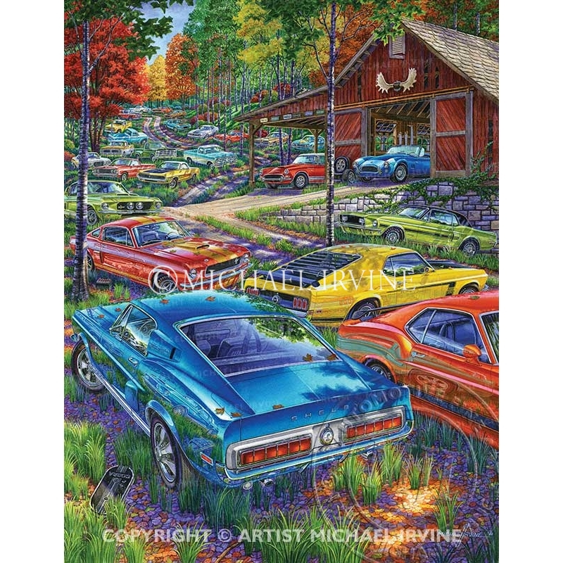 """""""Blue Bloods Behind the Barn"""" painting featuring Ford and Mercury big and small blocks."""
