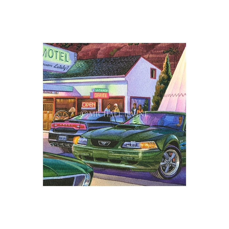 Details: Bullitt Mustang and the Dodge Charger parked at the Wigwam Motel.