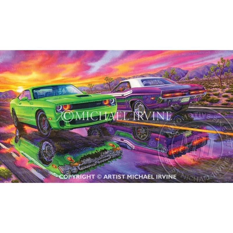 """Helluva Mirage"" watercolor painting of Dodge Hellcat & Challenger RT."