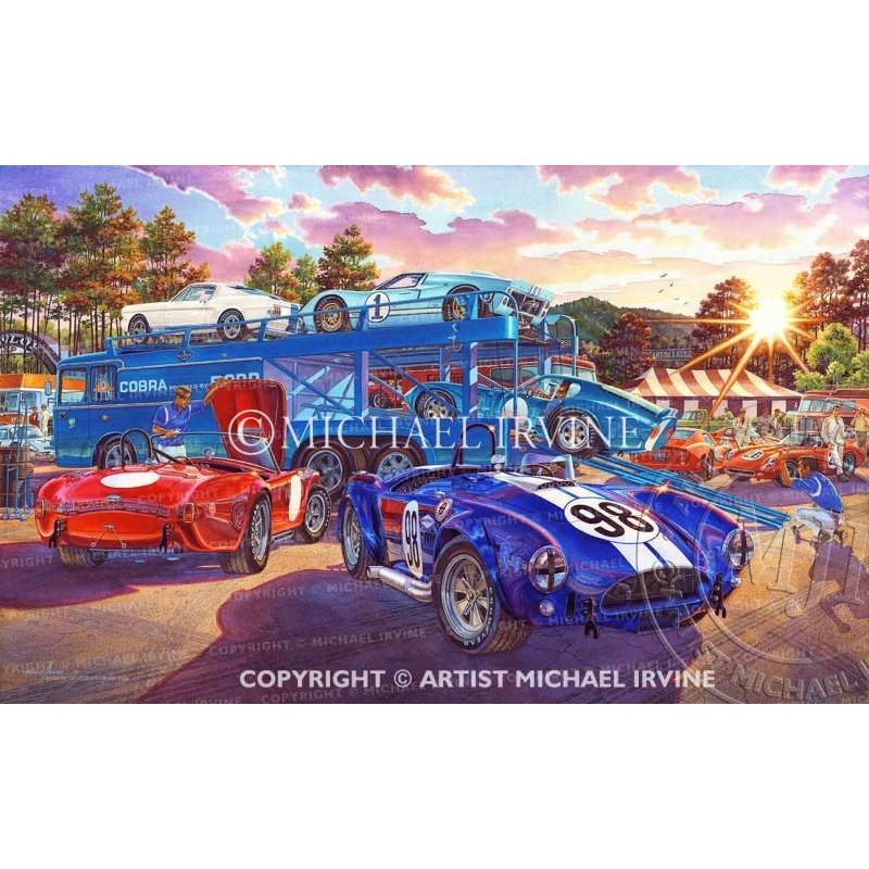 """""""The Competition Has Arrived"""" watercolor painting of Shelby, Competition Cobra, Daytona, GT"""