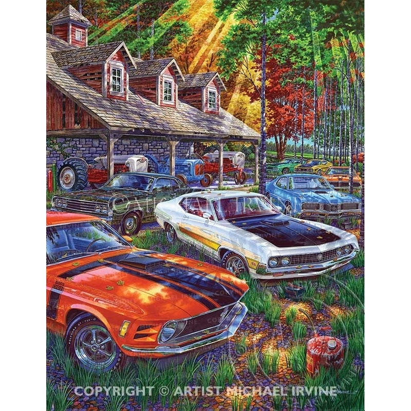 """""""Blue Blocks Behind the Barn"""" painting featuring Ford and Mercury big and small blocks."""